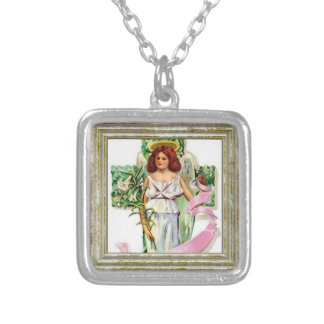 Angel With Flowers Cross Silver Plated Necklace