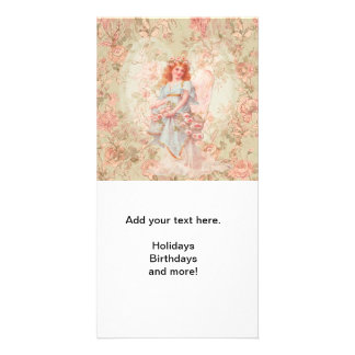 Angel with flowers photo card template