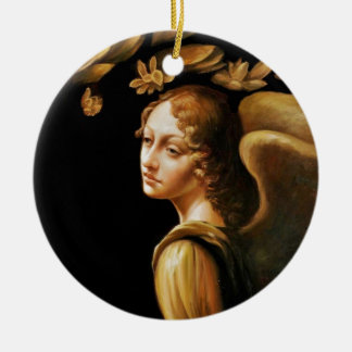 Angel with Golden Leaves Christmas Ornament