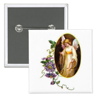 Angel With Harp And Clematis Flowers 15 Cm Square Badge
