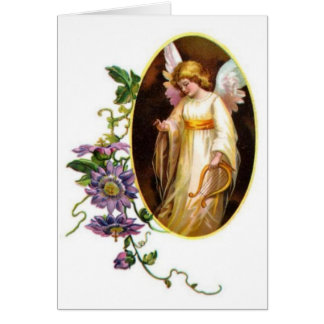 Angel With Harp And Clematis Flowers Card