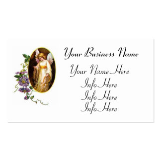 Angel With Harp And Clematis Flowers Pack Of Standard Business Cards