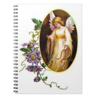 Angel With Harp And Clematis Flowers Spiral Notebooks