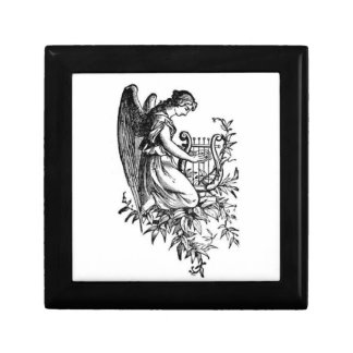Angel With Harp And Flora Small Square Gift Box