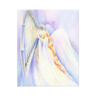 Angel With Harp Stretched Canvas Prints