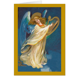 Angel with Harp Christmas Card