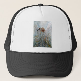 Angel with hawk for good fortune trucker hat