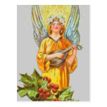Angel With holly And Mandolin Postcards