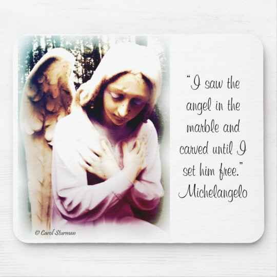 Angel with Michelangelo quote Mouse Mat
