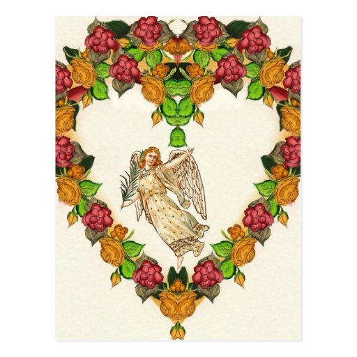 Angel With Palm Leaf And Roses Heart Post Cards