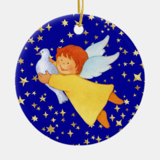 Angel with Peace Dove Christmas Ornament