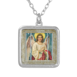 Angel With Pink Ribbon Silver Plated Necklace
