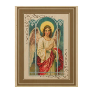 Angel With Pink Ribbon Triptych Wood Print