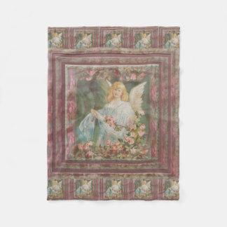 Angel with Pink Roses Fleece Blanket