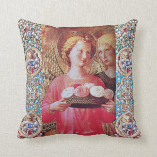 ANGEL WITH ROSES AND RED BLUE GEMSTONES CUSHIONS