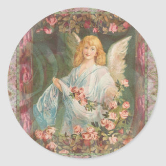 Angel with Roses Classic Round Sticker