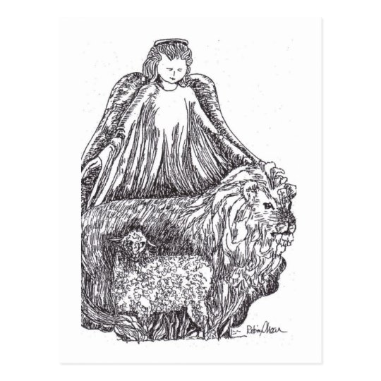 Angel with Sheep and Lion Postcard