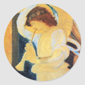 Angel with Trumpet, Burne-Jones Fine Art Classic Round Sticker