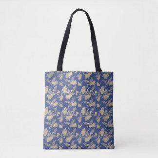Angel with Trumpet - pattern - indigo Tote Bag