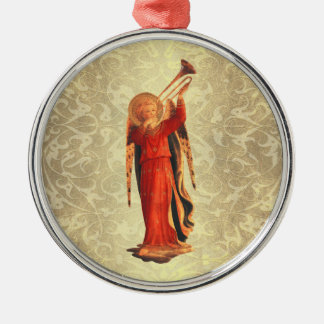 Angel with Trumpet Silver-Colored Round Decoration