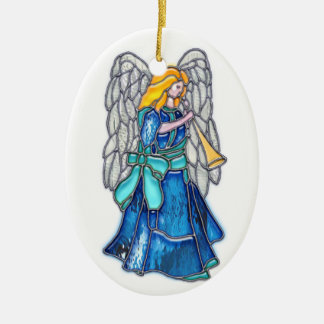 Angel with Trumpet Stained Glass Christmas Ornament