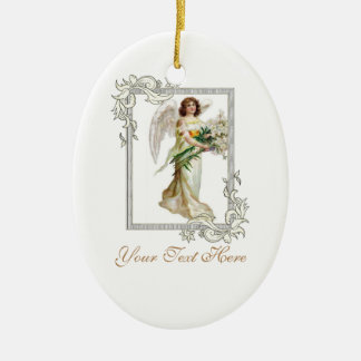 Angel With White Lilies Ceramic Oval Decoration