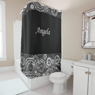 Angela black white showercurtain shower curtain