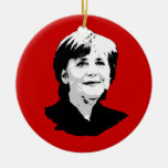 Angela Merkel Round Ceramic Decoration