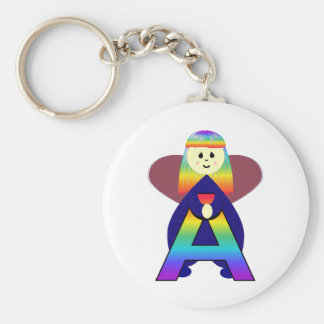 Angelbet Letter A Basic Round Button Key Ring