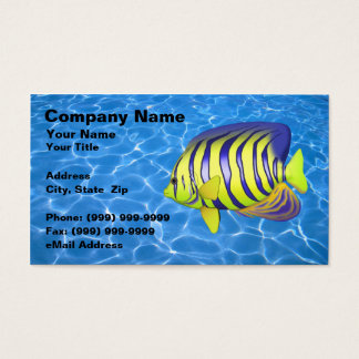 Angelfish Against Clear Blue Water Business Card
