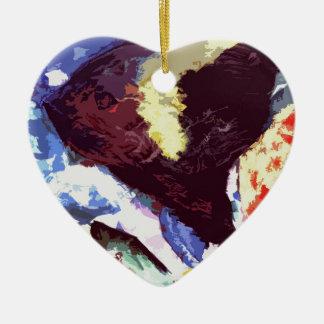 angelfish ceramic heart decoration