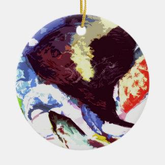 angelfish round ceramic decoration