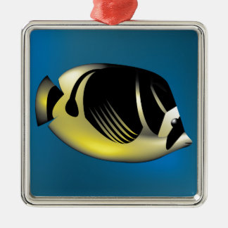 Angelfish Silver-Colored Square Ornament