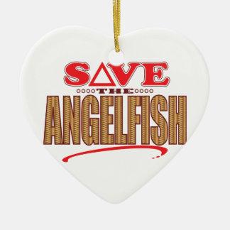 Angelfish Save Ceramic Heart Decoration