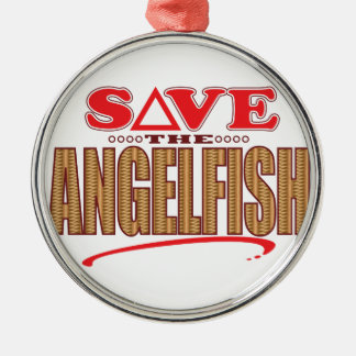 Angelfish Save Silver-Colored Round Decoration