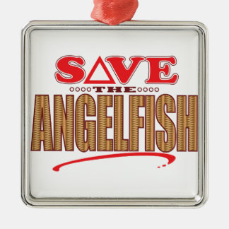 Angelfish Save Silver-Colored Square Decoration
