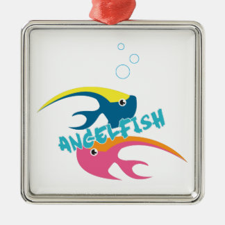 Angelfish Silver-Colored Square Decoration