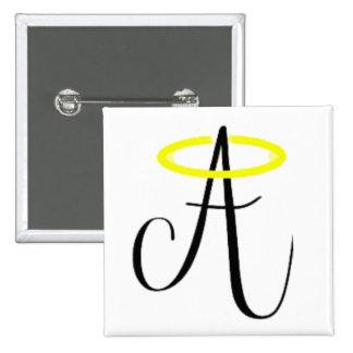 Angelic Abbie - Square Black Logo Button
