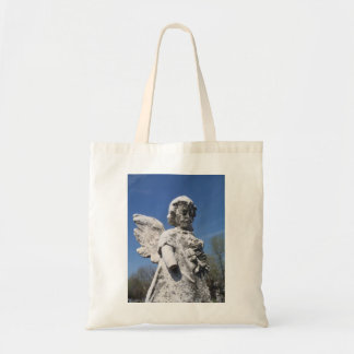 Angelic child statue canvas bag
