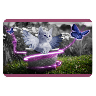 Angelic Kitten with Wings and Butterflies Rectangular Photo Magnet