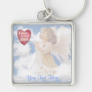 Angelic Love Is From Above Silver-Colored Square Key Ring