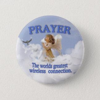 Angelic Prayer Worlds Greatest Wireless Connection 6 Cm Round Badge