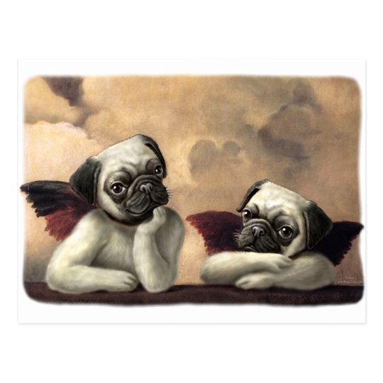 Angelic Pug Cherub Gift Items Postcard