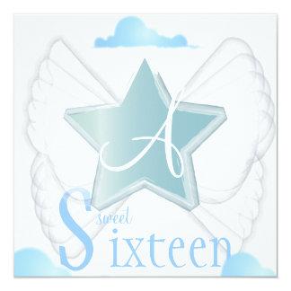 Angelic Star Sweet Sixteen Invitation- Cust. 13 Cm X 13 Cm Square Invitation Card