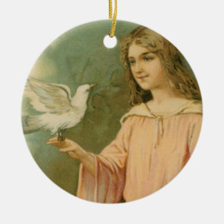 Angelic Woman with Dove Ceramic Keepsake Ornament