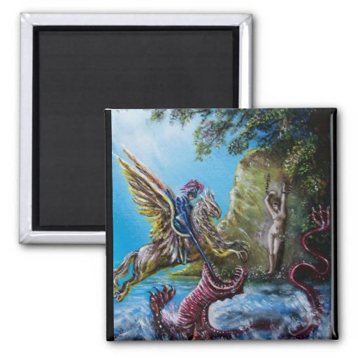 ANGELICA  AND SEA DRAGON SQUARE MAGNET