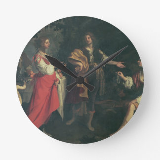 Angelica and the Moor, Medoro, 1634 (oil on canvas Round Clock