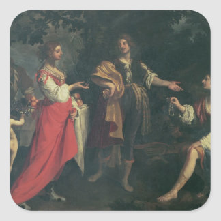 Angelica and the Moor, Medoro, 1634 (oil on canvas Square Sticker