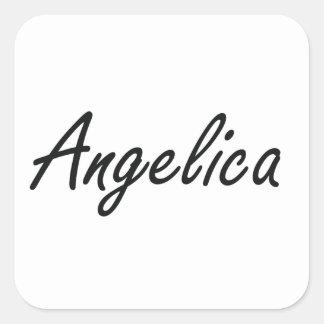 Angelica artistic Name Design Square Sticker