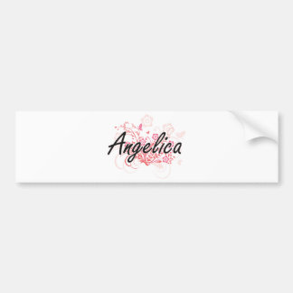 Angelica Artistic Name Design with Flowers Bumper Sticker